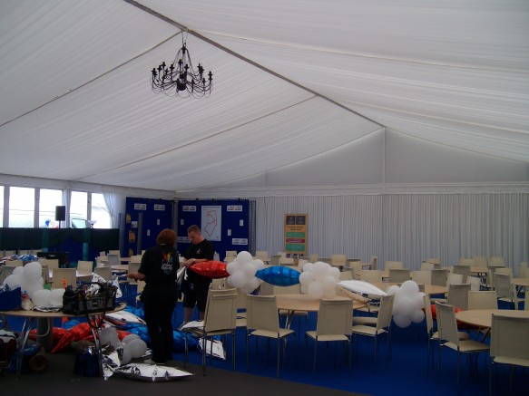 9am and that marquee needs a bit of TLC, lets get busy