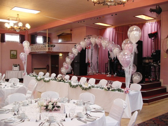 """A sinle line arch constructed from 16"""" double bubbles. All the balloons in the arch have a hand tied tulle bow at the bottom which co-ordinates with the top table bouquets"""