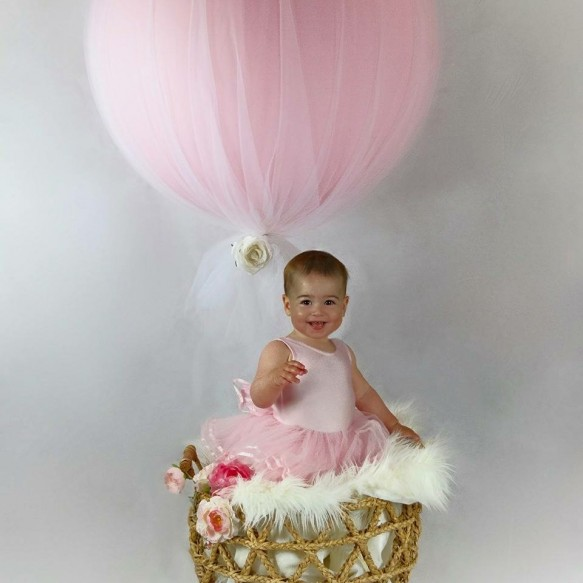 Tulle covered 3ft balloons. Simple and effective. TLBB