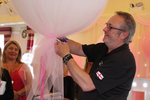 """36"""" Tulle covered balloons. It's easy when you know how."""
