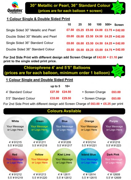 3ft, 4ft and 5.5ft balloon printing price list