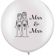 Mrs & Mrs. Qulatex 36'  white latex with a double side print in black