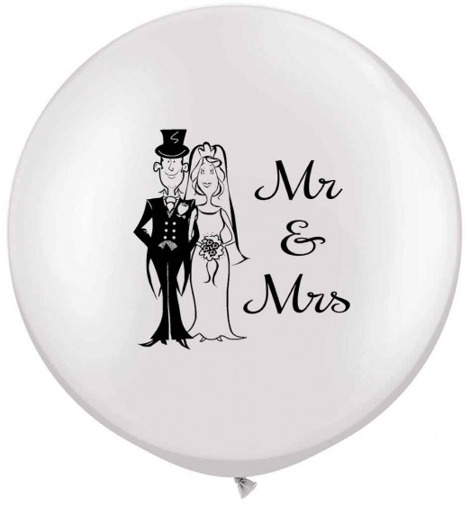 Mr & Mrs. Qulatex 36'  white latex with a double side print in black