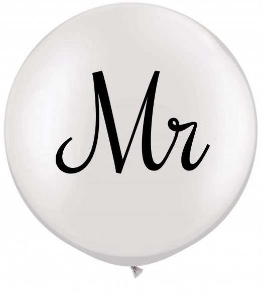 "Mr. 36"" Qualatex White balloon. Black double side print."