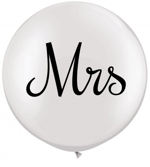 "Mrs. 36"" Qualatex white balloon. Double side print in black."