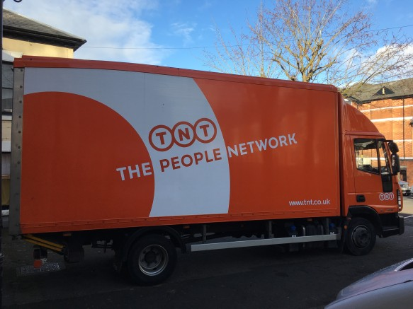 TNT turned up bang on time with a 7.5 Tonne cargo van