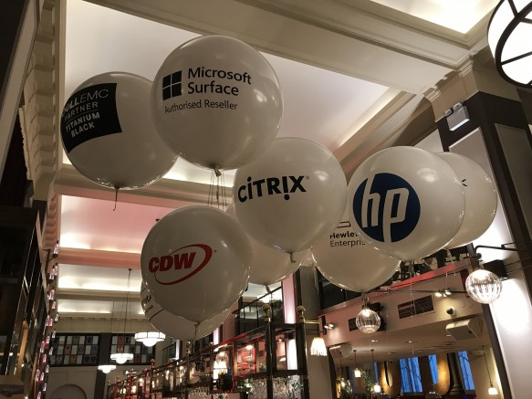 "Qualatex 36"" balloons with branding."
