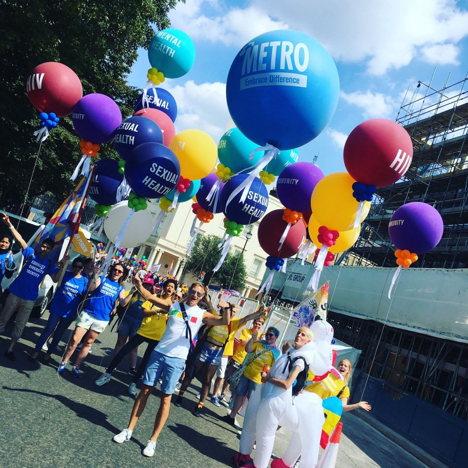 Metro Charity. Branded 3ft and 4ft balloons. Getting the message across